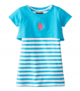 U.S. POLO ASSN. Little Girls' Solid and Stripe Twofer Toddler Girl Dresses