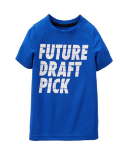 New Carter's Little Boys' Slogan Tee (Toddler/Kid) - Future Draft Pick - 4T - Toddler Boy Tops
